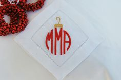 Monogrammed Linen Coaster Set of 6, Original Design, Christmas Ornament by AsForMe on Etsy