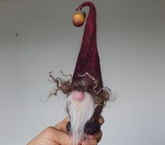 Gnome,Swedish Tomte,cute gift,natural fibre.OOAK elf doll. Acorn, Oak nut, Christmas Red Forest Dwarf.Pixie.Handmade Felt.Natural dye.
