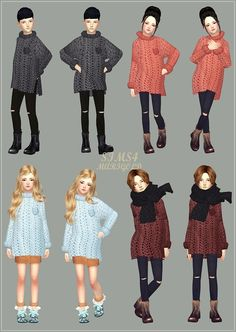Child_Long Sweater_Unisex_롱 스웨터_어린이 남녀 공용 의상 - SIMS4 marigold