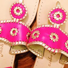Love hot pink Jack Rogers with gold stitching