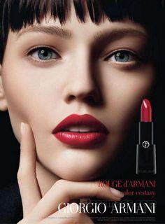 Sasha Pivovarova: Girogio Armani Make-up campaign '12