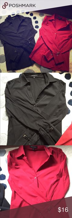 Express Design studio button down tops Express Design studio button down tops, size medium, black and red **these shoes have only been laundered never put in wash, but are machine washable if you choose to do so😉 material: cotton/polyester/spandex Express Tops Button Down Shirts