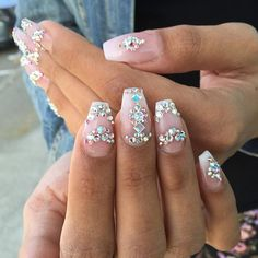 amourbeautylounge | User Profile | Instagrin Swarovski Nails, Crystal Nails, Rhinestone Nails, Bling Nails, Glitter Nails, Bling Bling, Fancy Nails, Cute Nails, Pretty Nails