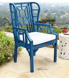Chinoiserie Chic for the patio! Blue Chinoiserie Outdoor Wing Chair at Horchow. Outdoor Decor, Used Outdoor Furniture, Chair Design, Patio Furniture, Outdoor Chairs, Outdoor Furniture, Chair, Dining Chairs, Wing Chair