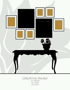 Let the Grouping be Intersting Even if the Photos are Not, or one photo collage layout that works. Picture Arrangements, Photo Arrangement, Photo Grouping, Photowall Ideas, Wall Groupings, Room Decor, Wall Decor, Interior Exterior, Interiores Design