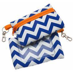Bags- Royal Blue & Orange Chevron Print ID Case