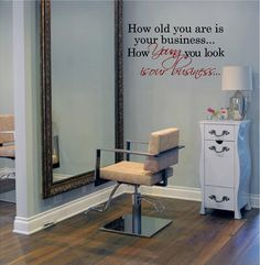 Large Salon DecalYoung is Our business 20H by VinylDesignCreations, $18.99