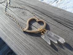 Gold Vermeil Heart Quartz Point Necklace