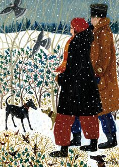 'Winter Walk With Dogs' By Painter Dee Nickerson. Blank Art Cards By Green Pebble. www.greenpebble.co.uk