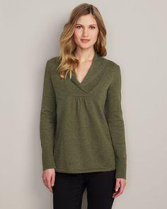 Shawl Collar Sweatshirt Sweater | Eddie Bauer (Basil Heather, M)