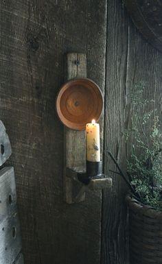 Primitive Early Lighting Inspired Tobacco Lath Reflector Candle Sconce w Stub Prim Decor, Rustic Decor, Primitive Decor, Primitive Lighting, Easy Woodworking Projects, Rustic Wood, Candle Sconces, Lanterns, Tobacco Sticks