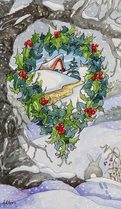 Framing the New Year Storybook Cottage Series - Original Fine Art for Sale - Alida Akers Cute Cottage, Cottage Art, Noel Christmas, Vintage Christmas Cards, Christmas Illustration, Illustration Art, Munier, Storybook Cottage, Vintage Artwork