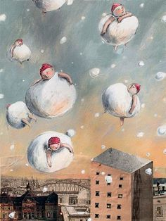 Snowballs - by Anna Castagnoli. this painting made me feel happy for some reason...