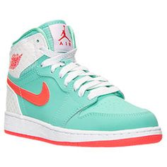 <p><b>EXTENDED SIZES: These Jordans are offered up to a kids' size 9.5 (11.0 in women's). Women's sizing runs 1.5 sizes larger than youth sizing. Formula: (your shoe size) - 1.5 = your youth size. </b></p><p>Let's go back to the beginning. The Peter Moore-designed Air Jordan 1 is the shoe that sparked a basketball sneaker revolution. MJ forever changed basketball and became a legend when he wore this pair of non-regulation sneakers onto the NBA hardwood in 1985. </p><p>This Girls' Grade…