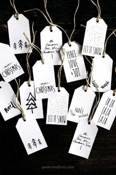 For those of us who need to brush up on our calligraphy skills, these cute gift tags look handwritten without the time or effort. Get the printable at Gather And Feast.