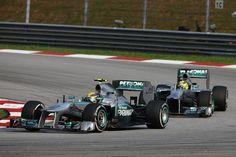 Round 2, Petronas Malaysian Grand Prix 2013, Lewis Hamilton, Mercedes AMG Petronas F1 Team, Leads Nico Rosberg, Mercedes AMG Petronas F1 Team, On Track Action