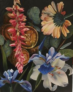 """Susan Ann O'Grady Firth on Instagram: """"Hello Spring 3rd panel of triptych 2 by 1m Oil on canvas On exhibit at Hilton Arts Festival this weekend."""" Hello Spring, Triptych, Art Festival, Exhibit, Oil On Canvas, Ann, Plants, Painting, Instagram"""