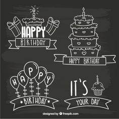 Free vector Blackboard birthday badges #12809