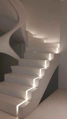 Spectacular Interior Design Trends Ideas On 2019 70 Staircase Interior Design, Home Stairs Design, Dream Home Design, Modern House Design, Interior Design Living Room, Interior Lighting Design, Luxury Bedroom Design, Modern Staircase, Stairway Lighting