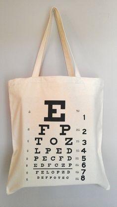 Eye Chart Optometry Tote Bag by RavensThread on Etsy, $15.00