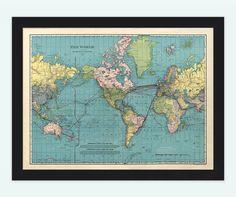 World Map Vintage Atlas 1924 Mercator projection