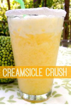 Creamsicle Crush — Whipped cream vodka, orange juice, and a splash of cream served over crushed ice in a powdered sugar-rimmed glass. Liquor Drinks, Cocktail Drinks, Vodka Cocktails, Vodka Martini, Alcoholic Beverages, Martinis, Cocktail Shaker, Orange Juice Alcoholic Drinks, Cocktail Recipes