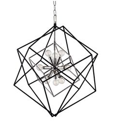 Geometric lighting...Inspired by the Atomic Age, the Roundout Pendant features tumbling cubes in textured black and metallic overlap in frozen motion, surrounding a contrasting modern style brass lighting cluster.  Available in four sizes and various color combinations.  Come by our full service lighting showroom in the Charleston, SC area and let us help you create the perfect lighting plan!
