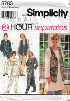 Size Misses' Easy Plus Size Side Seam Slit Tunic Pattern Or Long Vest With Pull On Pants Sewing Pattern - Simplicity 8783 Tunic Sewing Patterns, Tunic Pattern, Simplicity Sewing Patterns, Pants Pattern, Vintage Sewing Patterns, Plus Size Sewing Patterns, Dress Patterns, Long Vests, Pull On Pants