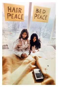 "March 25, 1969: John Lennon and Yoko Ono begin their weeklong ""Bed-In"". Married five days earlier, the couple decided to spend their honeymoon in bed for a week, and invited the world's press to join them in their Amsterdam hotel room to talk about world peace everyday between the hours of 9 a.m. and 9 p.m.http://en.wikipedia.org/wiki/Bed-InPhoto: AFP"
