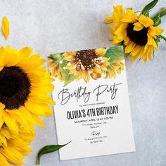 Sunflower birthday invitation template Birthday Invitation Templates, You Are Invited, 4th Birthday, My Design, My Etsy Shop, Kids, Children, Boys, Children's Comics