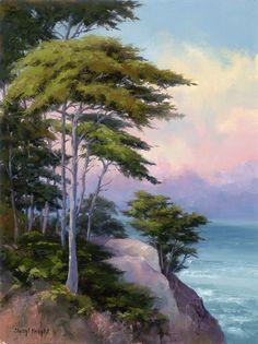 """Napsütötte Cypress""által Sheryl Knight Oil 16 x 12 .jpg (766×1024)"