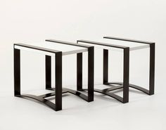 Leather Top Side Tables by Jacques Quinet