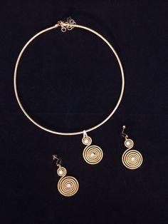 Necklace and earring set.  Golden grass from Brasil! #goldengrassbrazil #jewelry