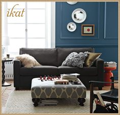 Essex Ikat Upholstered Ottoman from West Elm #laylagrayce #ikat