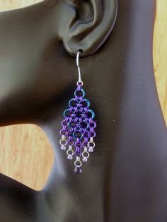 Purple and Blue Japanese Chandelier Chainmaille Earrings