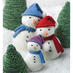 Knit yourself a snowman or an entire family of snow people with this Snow Family and Evergreens pattern! Worked in a variety of Valley Yarns, by changing yarns and gauges, you can knit snow people in three different sizes and outfit them with hats and scarves. They make perfect winter decorations or a quick gift. Complete the wintery scene with cute, cone-shaped evergreens that can be stacked to make one tall tree or stand up on their own with a little stuffing.   	Sizes: Small (Medium, ...