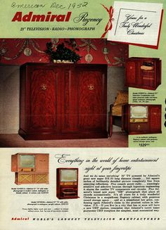 """Admiral Regency 21"""" Television - Radio - Phonograph.  Yours for a Truly Wonderful Christmas 1952"""