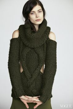 Green #Handknit Wool Cutout #Sweater with #Detachable Cowl