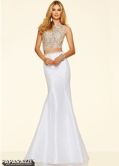 2016 Hot Trendy White Two Piece Beaded Crop Top Mermaid Prom Dress