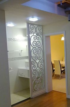 mdf design grill panels.  Gorgeous idea for a door... add plexiglass on one side for sound barrier.