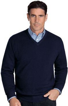 Navy V-neck Sweater by Jos. A. Bank. Buy for $325 from Jos. A. Bank