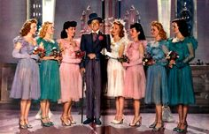 'Up in Arms ' with Danny Kaye and the Goldwyn Girls Hooray For Hollywood, Golden Age Of Hollywood, Hollywood Glamour, Bridal Gowns, Wedding Gowns, Virginia Mayo, Samuel Goldwyn, Musical, Bridesmaid Dresses