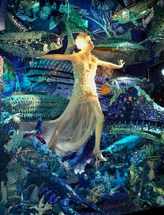 """Carnival of the Animals: """"Testing the Waters"""" A Bergdorf Goodman window display"""