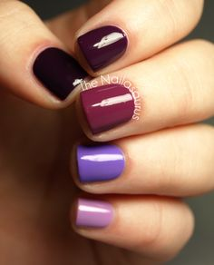 purple ombre nails.