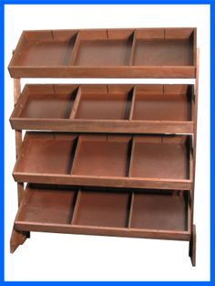 Item #390 - Four Bin Tilt Tray Display with 1 Pack of Dividers - Shown in Dark Brown Stain - Extra Dividers Available - #mainebucket #visualmerchandising #retaildisplays