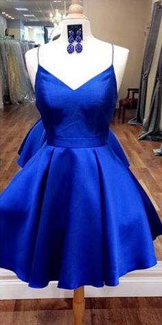 royal blue homecoming dress, short homecoming dress with ribbon, 2017 homecoming dress