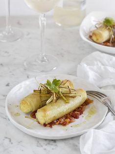 canelones crujientes Pescado Recipe, Tapas, Pasta Al Dente, Gula, Cooking Recipes, Healthy Recipes, Cooking Ideas, Food Decoration, Food Humor