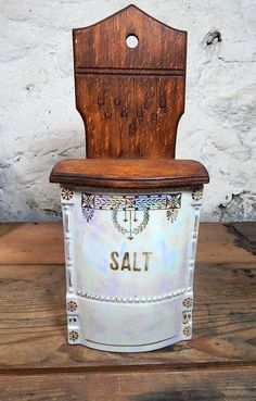 Lusterware Salt Keep Iridescent Wooden Hinged by VintageVarietee