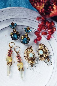 Add a pop of classy color to your wedding ensemble. Check these baubles out! #anthropologie #bridaljewelry