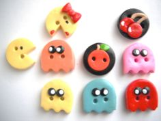 Button Pac Family polymer clay handmade buttons  by digitsdesigns, $12.50